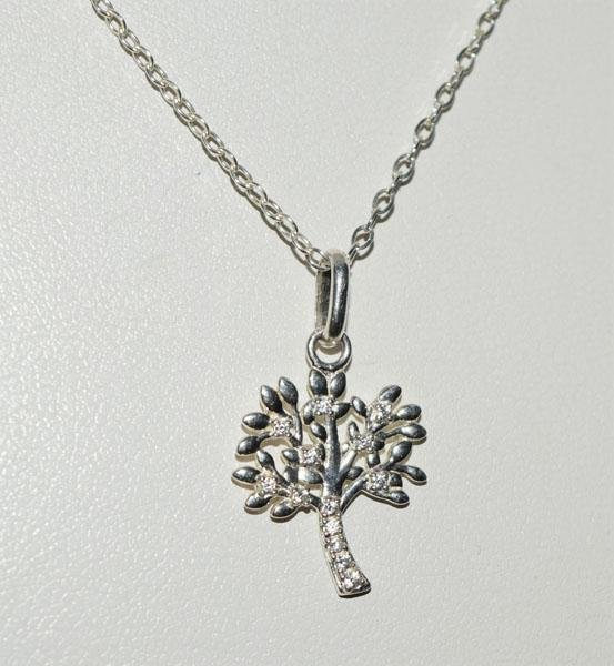 Sterling Silver Sparkling Tree Necklace