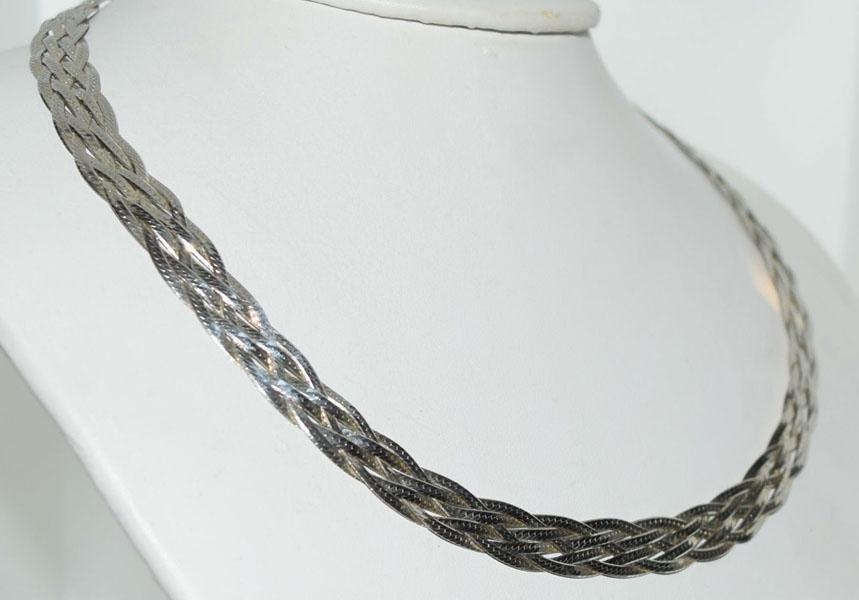 Sterling Herringbone Weave Braided Necklace
