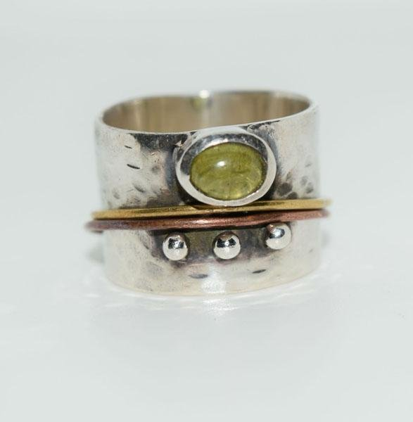 Sterling Peridot Wide Band Artisan Ring Sz8