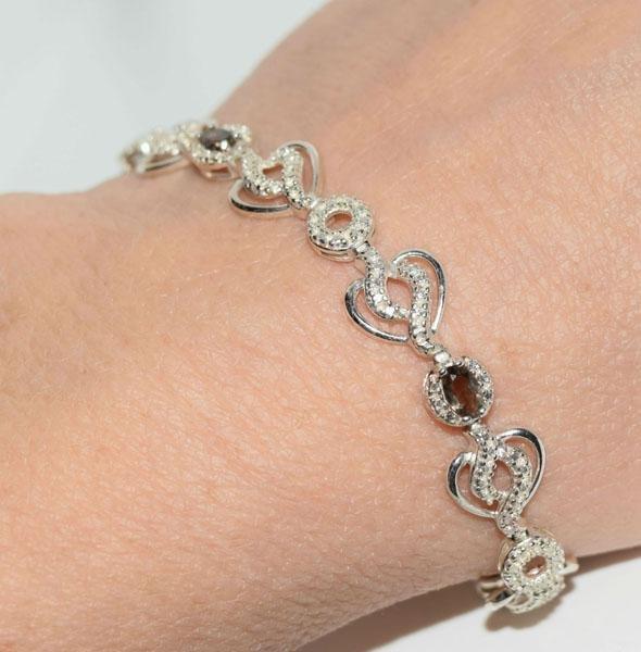 Sterling Gemstone Heart Link Bracelet