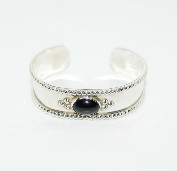Sterling Onyx Rope Design Cuff Bracelet
