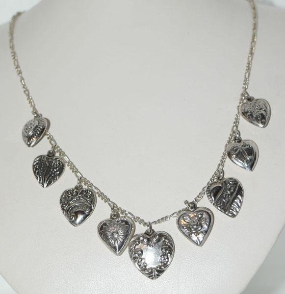 Sterling Hearts Charm Dangle Necklace