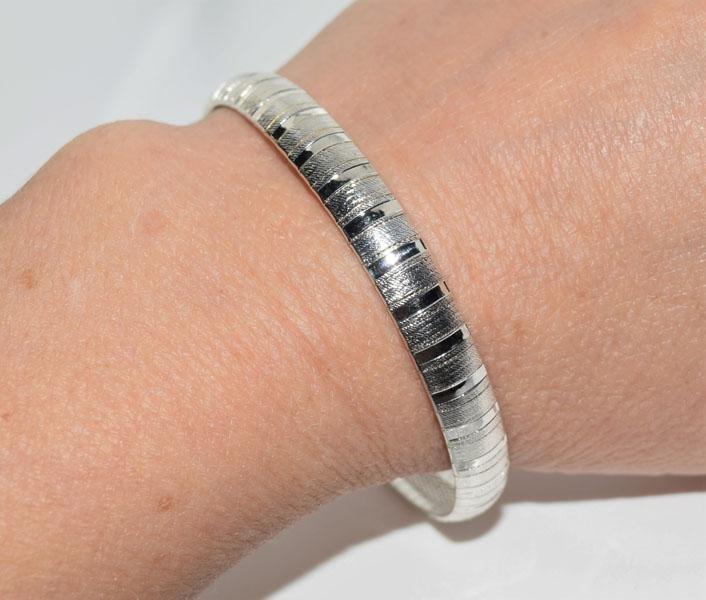 Italy Sterling 7inch Wide Omega Bracelet