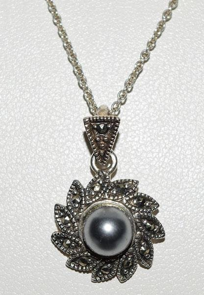 Sterling Marcasite & Faux Pearl Necklace