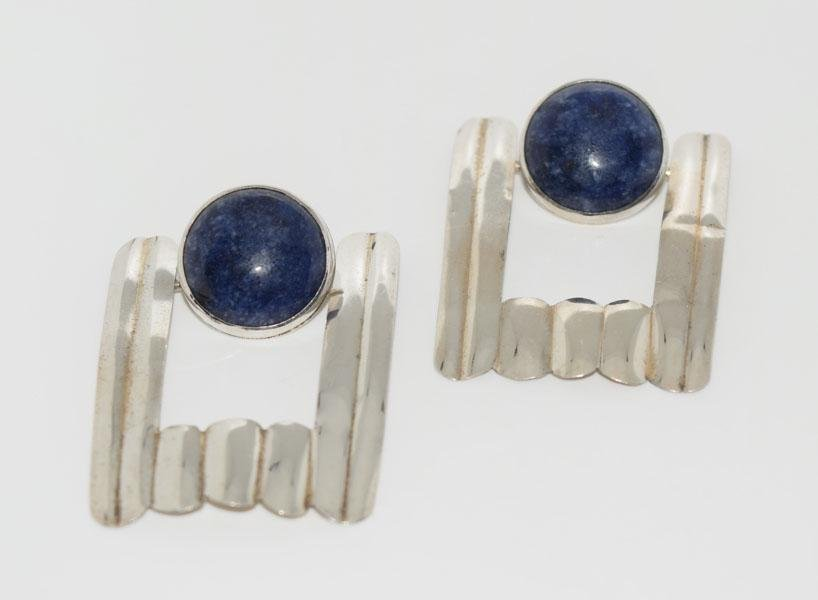 Sheet Silver Hinged Lapis Lazo Post Earrings