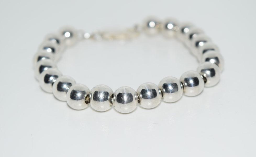 Sterling Silver 7inch 8mm Beaded Bracelet