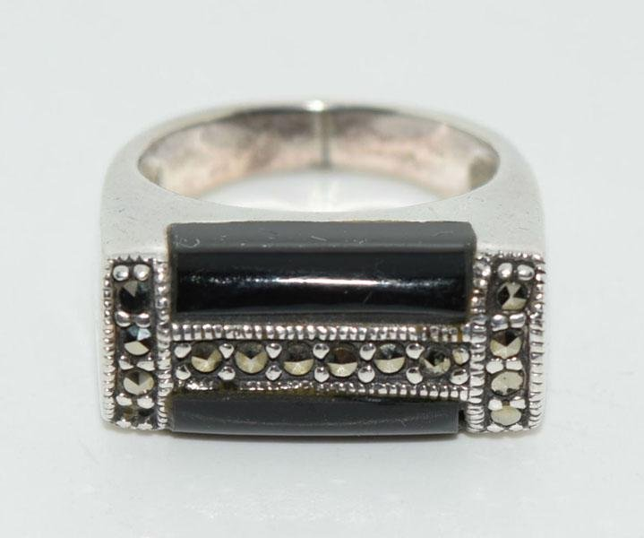 Vintage Sterling Inlaid Marcasite Ring Sz6.5