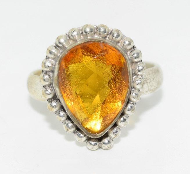 Silver Tone Pear Cut Bead Frame Ring Sz8.25