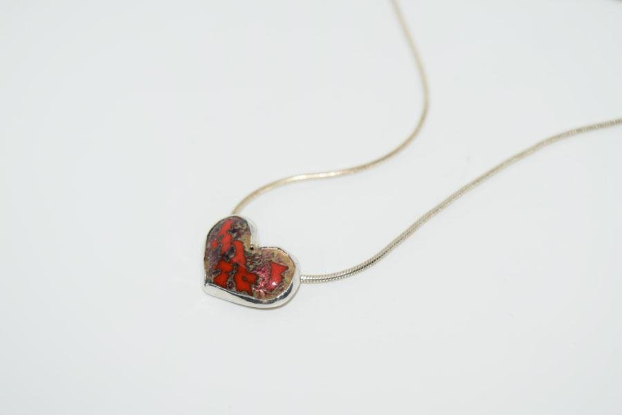 Sterling Silver Heart Art Glass Necklace