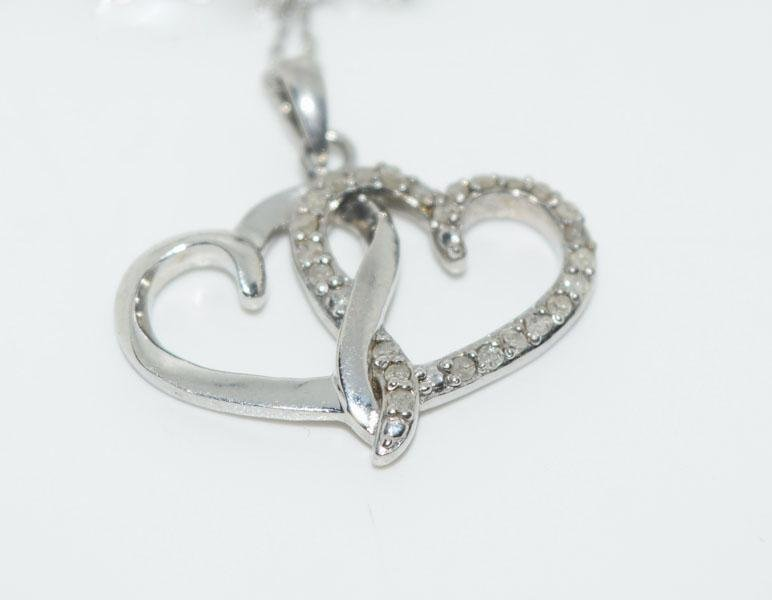 Sterling Double Heart Diamond Necklace
