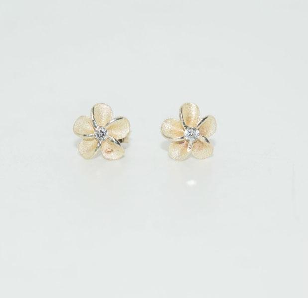 Sterling Silver CZ Plumeria Post Earrings