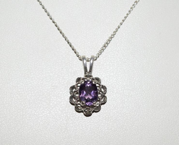 Sterling Silver Amethyst Petal Frame Necklace