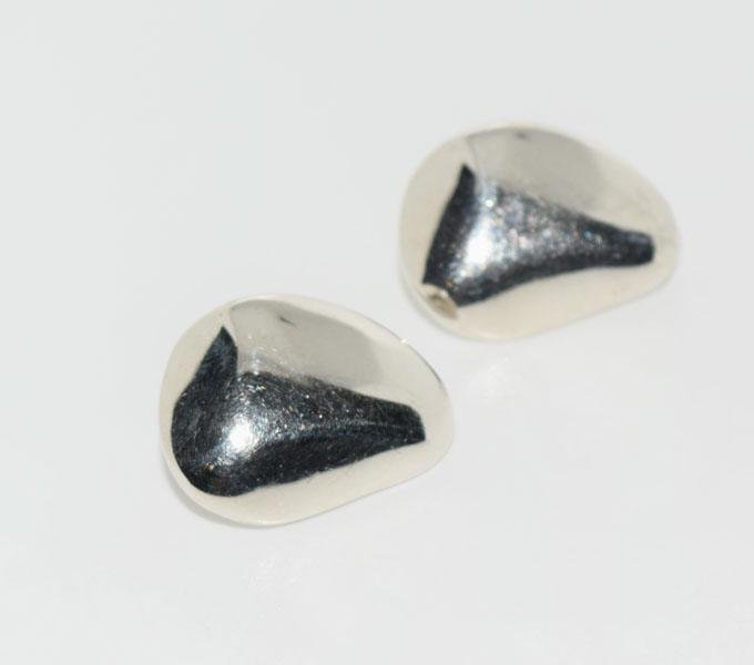 Heavy Sterling Nugget Design Clip on Earrings
