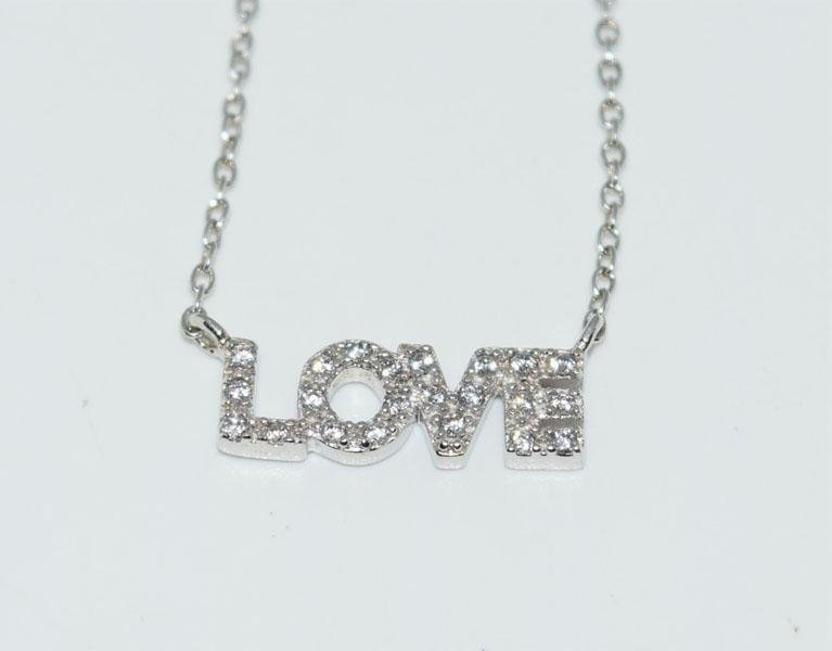 Sterling Silver Sparkling Love Necklace