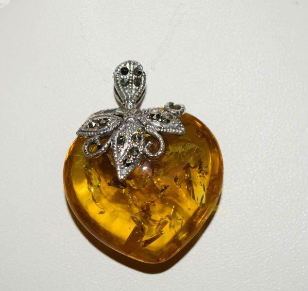 Sterling & Marcasite Amber Heart Pendant