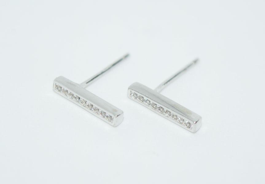 Sterling Sparkling Bar Post Earrings