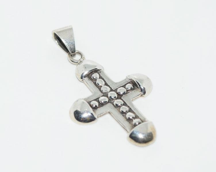 Sterling Bead Design Cross Pendant