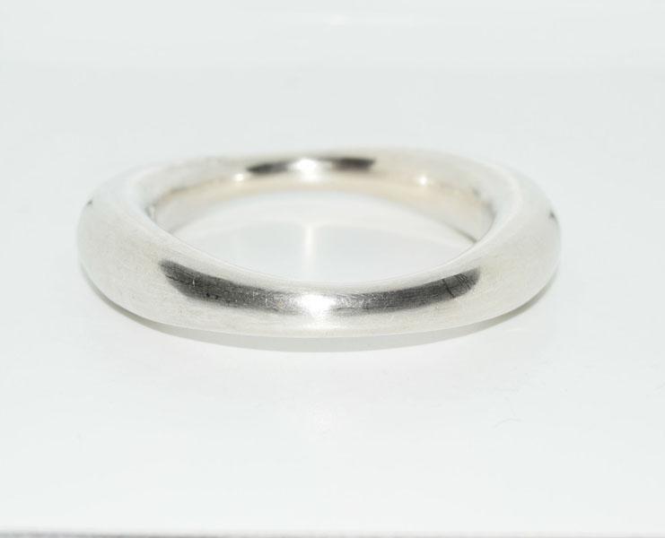 Heavy Sterling Hollow Graduated Bangle Bracelet