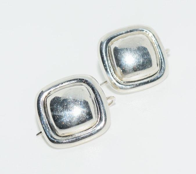 Mexico Sterling Square Dome Earrings