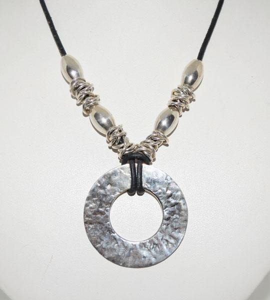 Mexico Sterling Disk Beaded Cord Necklace Host Pick