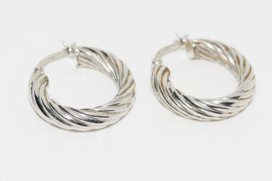 Sterling Twist Design 4mm wide Hoop Earrings
