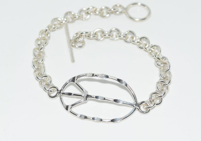 7.50 Inch Sterling Silver Peace Sign Chain Bracelet