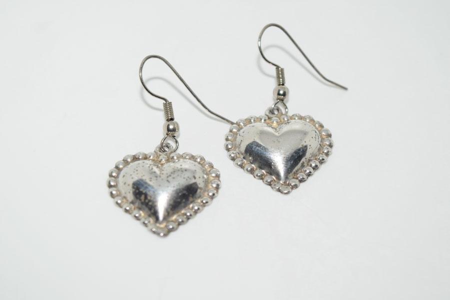 Tarnished Sterling Puff Heart Earrings