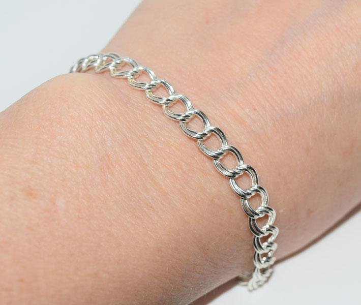 Sterling 8inch Double Link Charm Bracelet