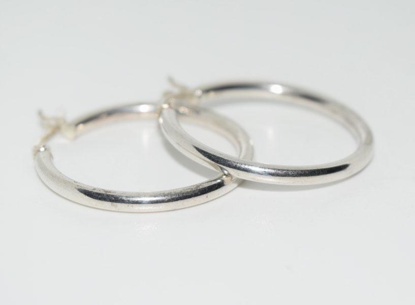 Sterling 2.5mm wide Hoop Earrings