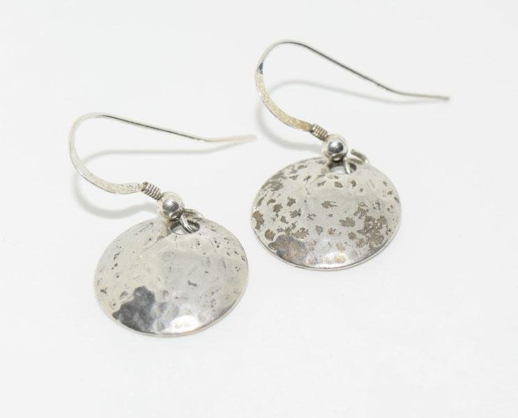 Sterling Silver Hammered Disk Dangle Earrings