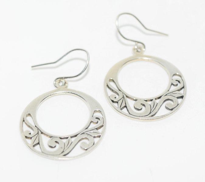 Sterling Scroll Design Circle Hook Earrings