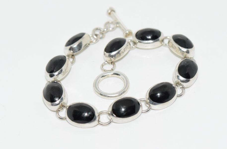 Mexico Sterling 7inch Onyx Link Bracelet