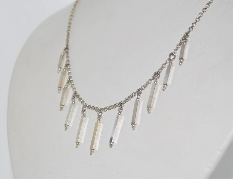 Vintage Italy Sterling Silver Bar Drop Necklace