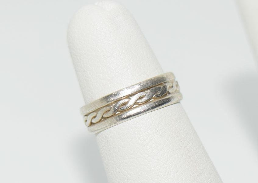 Sz4 Tested Sterling Rope Design Ring