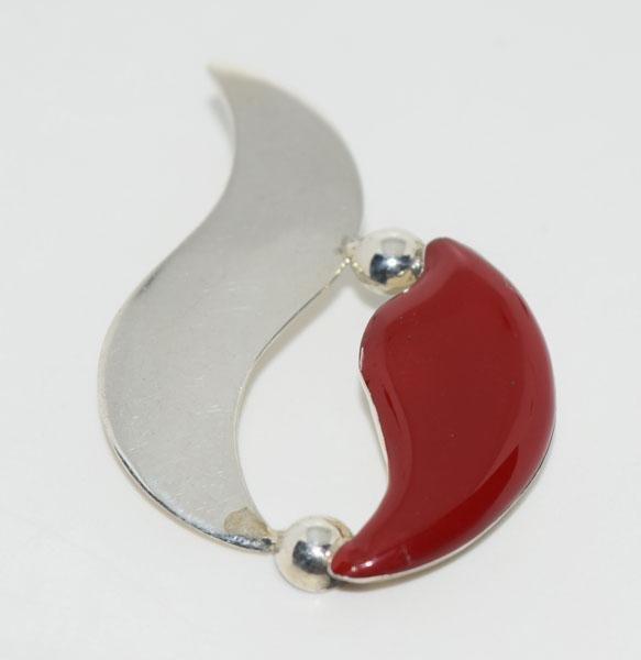Sterling Resin Flame Design Pendant