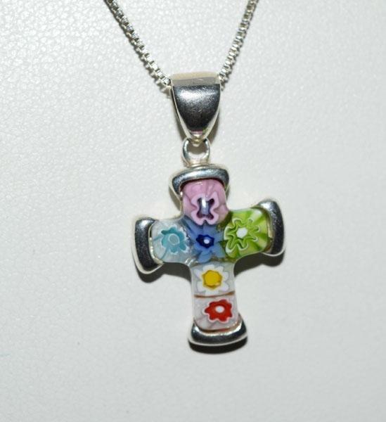 Sterling Silver Millefiori Cross Necklace