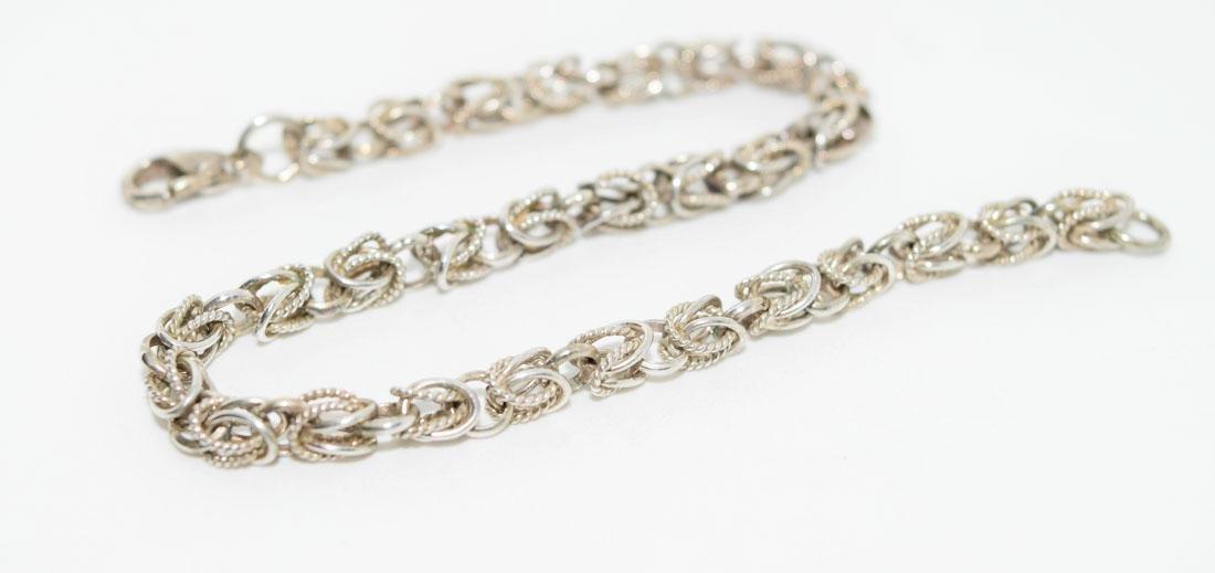 Vintage Tested Sterling 7inch Byzantine Chain Bracelet