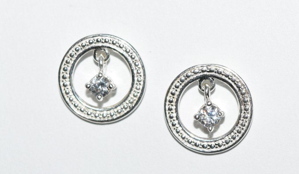 Sterling Circle Dangle Earrings
