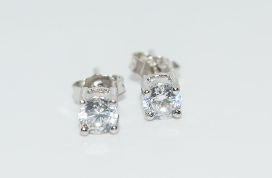 Sterling 4mm Round Cut Solitaire Post Earrings