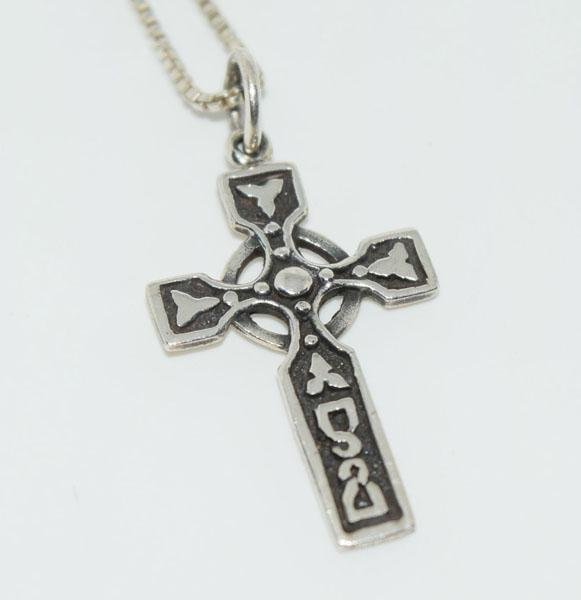 Sterling Circle of Life Celtic Cross Necklace