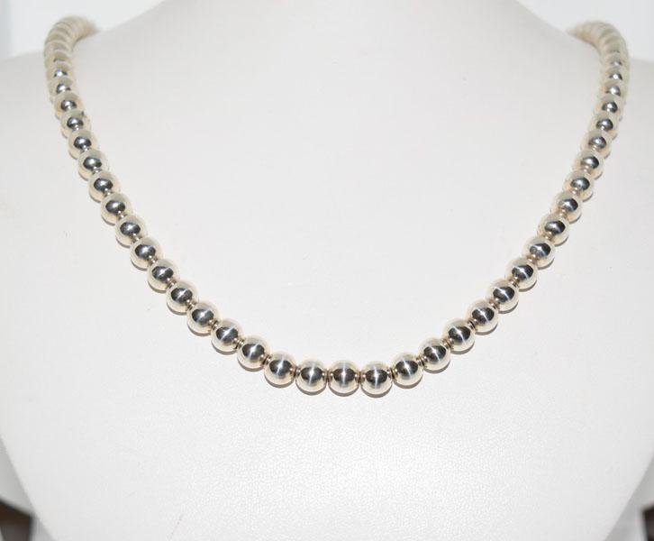 Sterling Silver 7mm Beaded 23inch Necklace