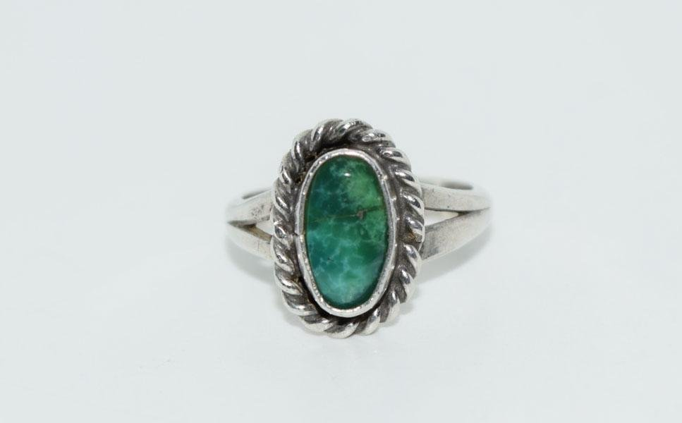Tested Sterling Natural Stone Ring Sz3