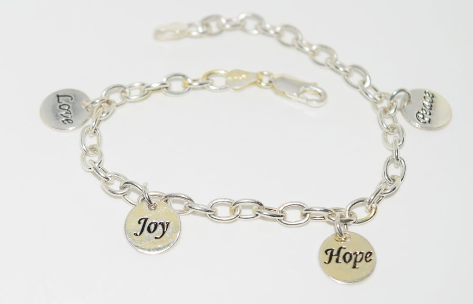 Sterling Silver Inspirational Charm  Bracelet
