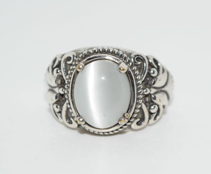 Sterling Silver Cats Eye Ring Sz 8.75