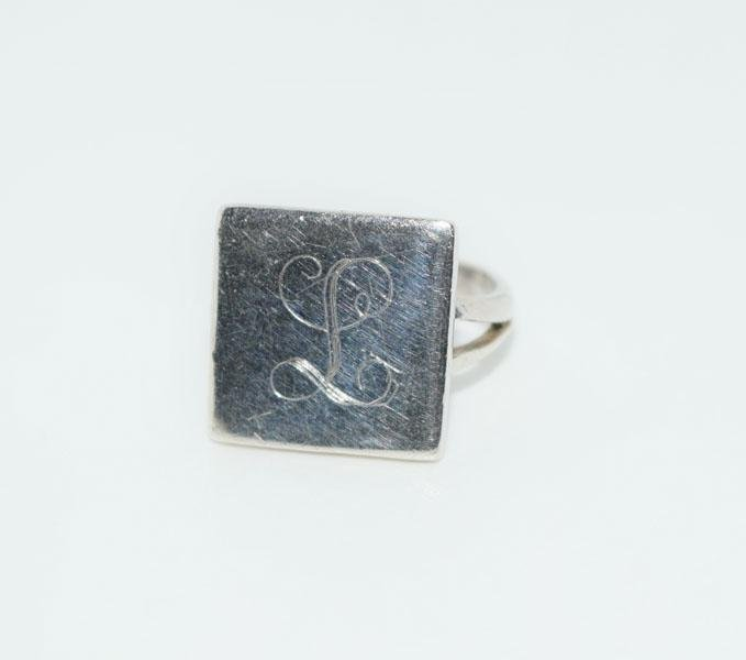 Sterling Silver Square Initial L Ring Sz6