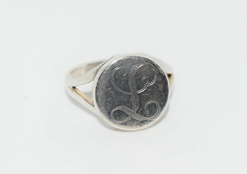 Sterling Silver Round Initial L Ring Sz6