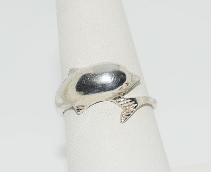 Sterling Silver Dolphin Wrap Ring Sz7.75