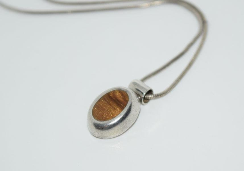 Mexico Sterling Oval Resin Necklace