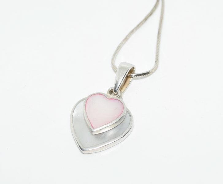 Sterling Mother of Pearl Heart Necklace
