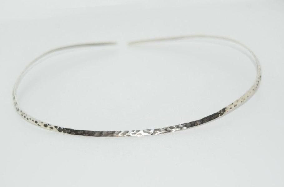 950 Silver Hammered 3mm Collar Necklace